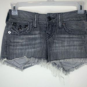 True Religion Distressed Frayed Denim Shorts